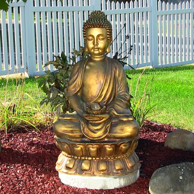 Fiberglass Relaxed Buddha Fountain with Light