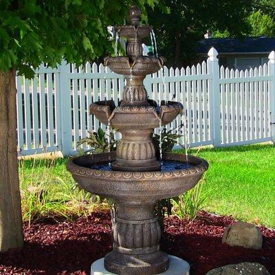 Fiberglass/Resin Mediterranean 4 Tiered Outdoor Water Fountain