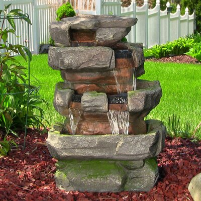 Resin/Fiberglass Outdoor Electric Large Rock Quarry Waterfall Fountain with LED Light