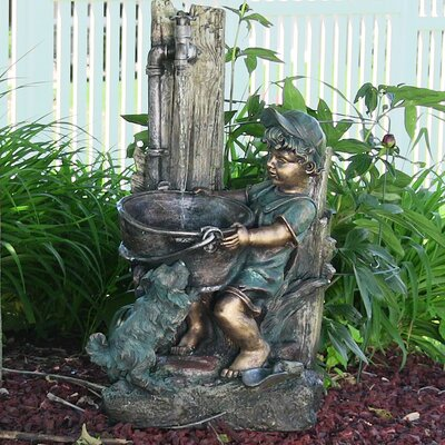 Resin/Fiberglass Boy and Dog Fetching Water Outdoor Fountain with LED Light