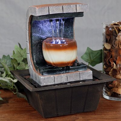 Resin Meditation Tabletop Fountain with LED Light