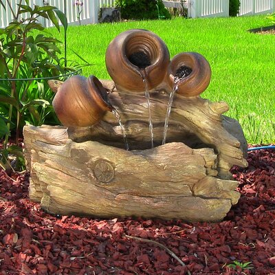 Resin/Fiberglass 3 Trunks and Pitchers Fountain with LED Light