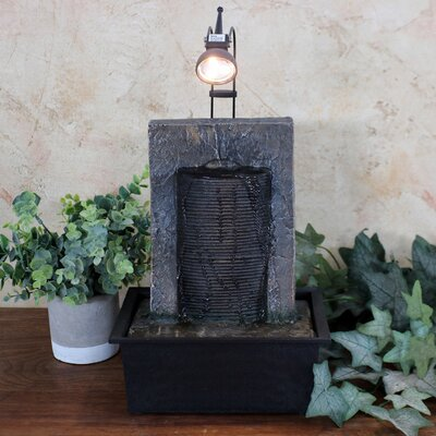 Resin Ancient Garden Wall Tabletop Water Fountain with Light