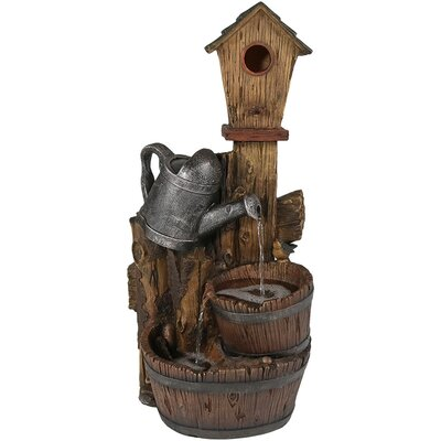 Polyresin Birdhouse and Garden Watering Can Outdoor Water Fountain