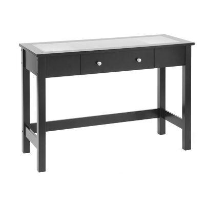 Bay Shore Console Table with Glass Top Color: Black