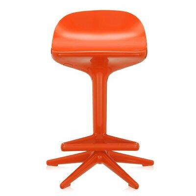 Adjustable Height Swivel Spoon Stool Finish: Orange