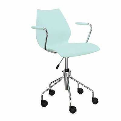Maui Desk Chair Color: Pale Blue, Height Adjustment: Height Adjustable Swivel Base with Arms, Arms: Included