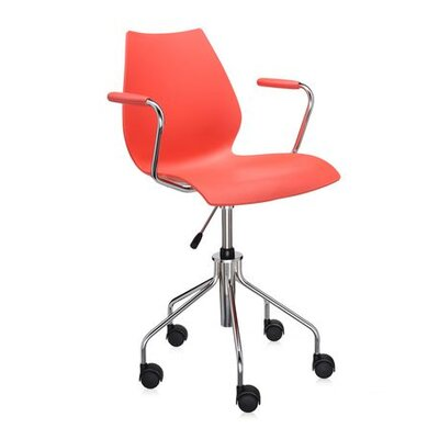 Maui Desk Chair Color: Red, Height Adjustment: Height Adjustable Swivel Base with Arms, Arms: Included