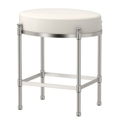 Oval Vanity Stool with Cushion Finish: Chrome, Color: White