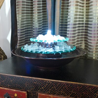 Glass Moonlight Tabletop Fountain with LED Light