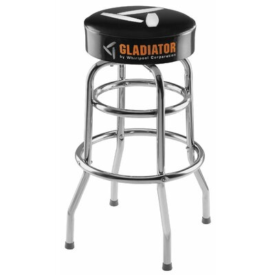 """Ready-To-Assemble 30"""" H x 15"""" W Padded Swivel garage Stool in Black and Chrome"""