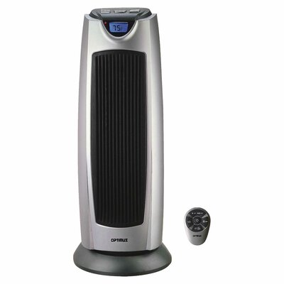 Portable Electric Fan Tower Heater with Digital Temperature Readout and Oscillating