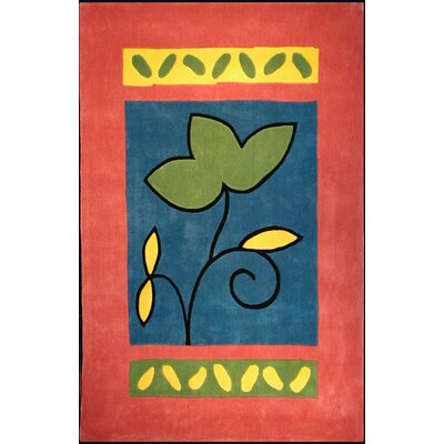 American Home Rug Co. Bright Rose/Blue A Single Flower Area Rug