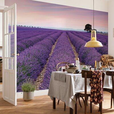 Komar 4 Piece Provence France Lavender Field Scenic Wall Mural Set