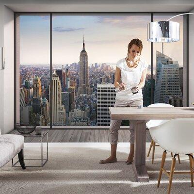 Komar 4 Piece Penthouse Trompe L'oeil New York City Skyline Cityscape Wall Mural Set