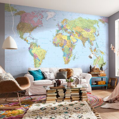 Komar World Map 2.48m L x 368cm W Wallpaper