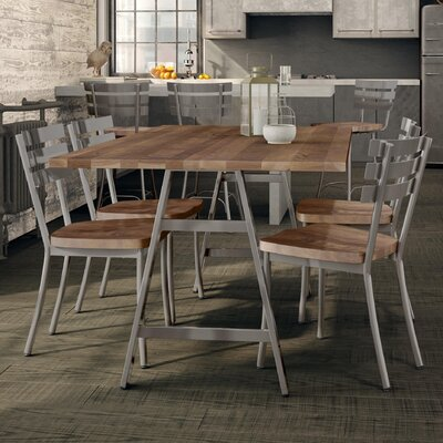 Maya Metal 5 Piece Dining Set Chair Color: Gun, Table Color: Dark Gray