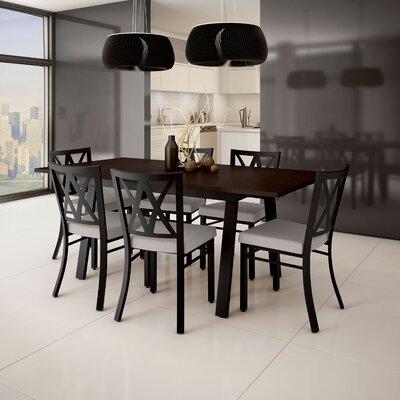 Micheal 9 Piece Extendable Dining Set Table Top Color: Brown, Table Base Color: Black, Chair Color: Black/Beige