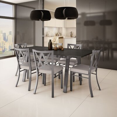 Micheal 7 Piece Extendable Dining Set Table Top Color: Dark Gray, Table Base Color: Gray, Chair Color: Gray/Beige