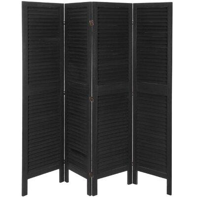 Kathlene 4 Panel Room Divider Color: Black