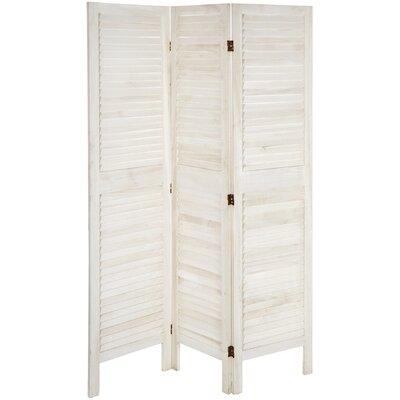 Kathlene 3 Panel Room Divider Color: White
