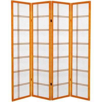 Sandefur 4 Panel Room Divider Color: Honey
