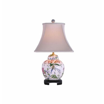 """Oriental Furniture Porcelain Lily Melon Jar 23"""" H Table Lamp with Bell Shade"""