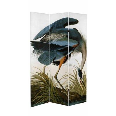 Fidel Audubon Heron and Flamingo Canvas 3 Panel Room Divider