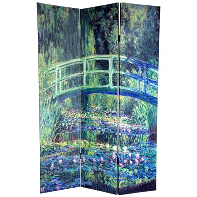 "Oriental Furniture 72"" x 48"" Double Sided Works of Monet 3 Panel Room Divider I"