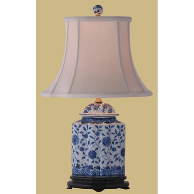 """Oriental Furniture Jar 23"""" H Table Lamp with Bell Shade"""