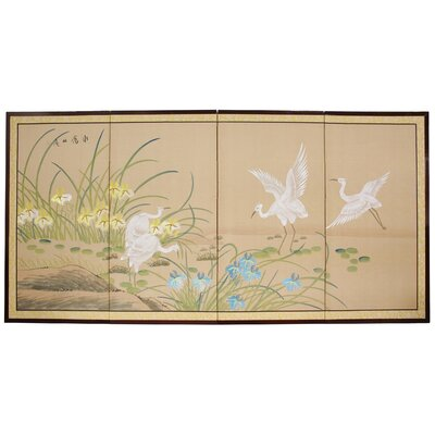 Rowden Birds on the Pond 4 Panel Room Divider