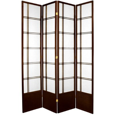 Marla Room Divider Number of Panels: 4 Panels, Color: Walnut