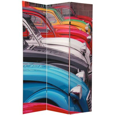 Colorful Real Cars 3 Panel Room Divider