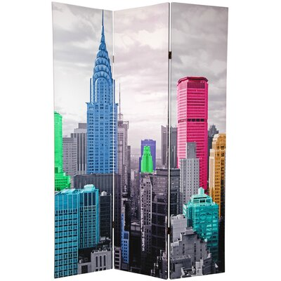 Colorful New York Scene 3 Panel Room Divider