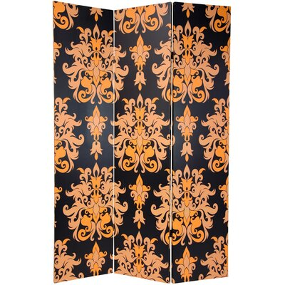 "Oriental Furniture 70.88"" x 47"" Double Sided Damask 3 Panel Room Divider"
