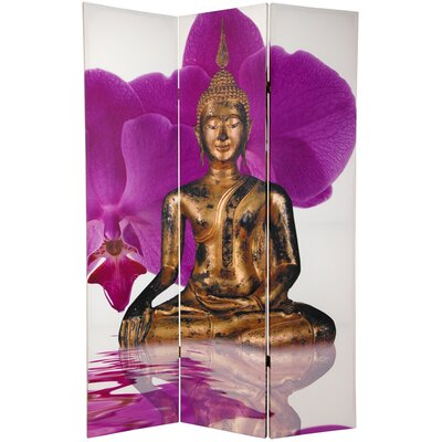 """Oriental Furniture 70.88"""" x 47.25"""" Double Sided Thai Buddha 3 Panel Room Divider"""