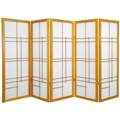 Clara Shoji 5 Panel Room Divider Color: Honey