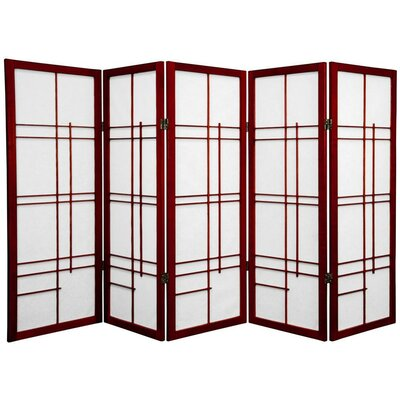 Clara Shoji 5 Panel Room Divider Color: Rosewood