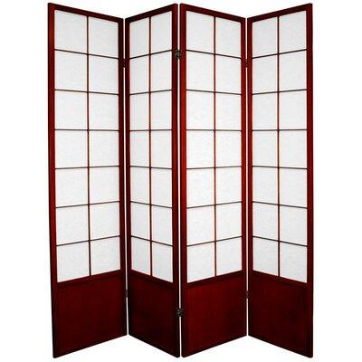 Camille Zen 4 Panel Room Divider Color: Rosewood