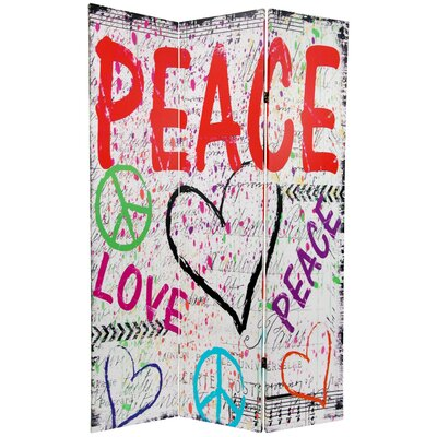 Peace and Love 3 Panel Room Divider