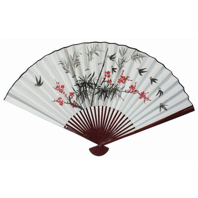 Oriental Furniture Flowers and Birds Small Fan Wall Décor