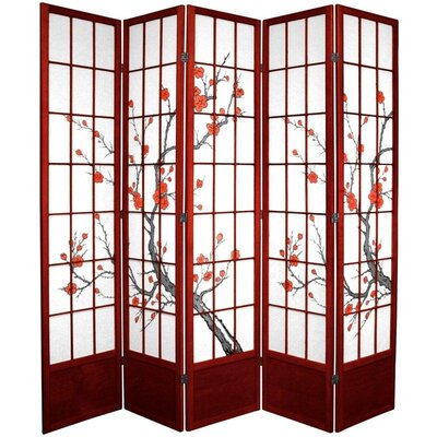 Rothermel Shoji Room Divider Numbers of Panels: 5, Finish: Rosewood