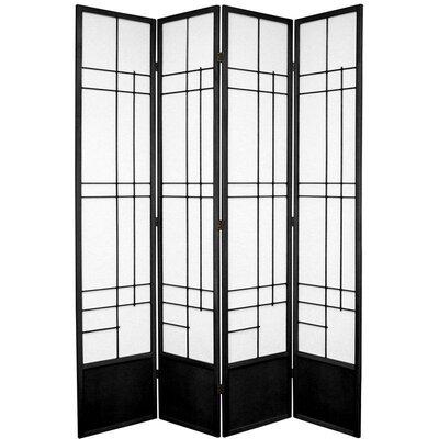Clara Shoji 4 Panel Room Divider Color: Black