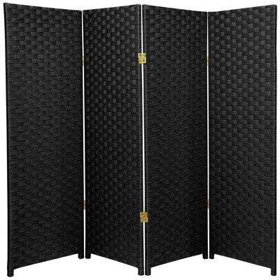 Sanger 4 Panel Room Divider Color: Black
