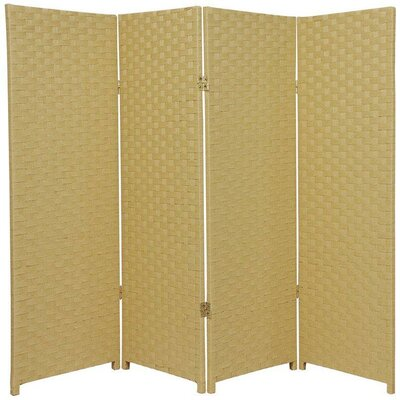 Sanger 4 Panel Room Divider Color: Dark Beige