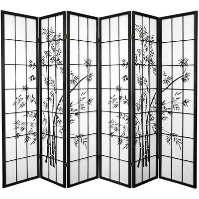 Sanor Lucky 6 Panel Room Divider Color: Black