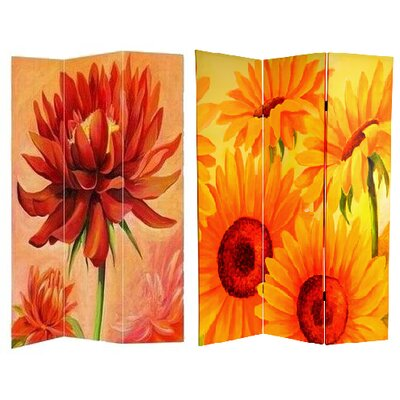 Jakubowski Poppies and Sunflowers 3 Panel Room Divider