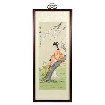 Oriental Furniture Asian Ravishing Beauty Watercolor Framed Original Painting