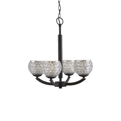 Heavner 4-Light Shaded Chandelier Finish: Metallic Bronze, Shade Color: Mercury