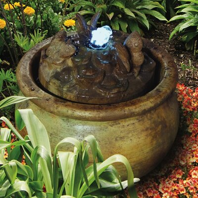 Concrete Butterfly Bubbler Fountain with LED Light